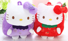 4Fruits - Kawaii Hello Kitty Baby Plush Backpack , 30*20CM Approx. 1-3 Year , Gift Plush Baby Kindergarten Backpack BAG Pouch(China)