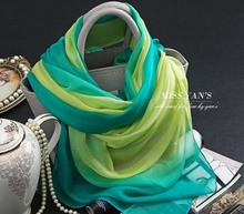 Genuine Silk Scarf Shawl Bohemian Scarves China Green Gradient Multifunction Silk scarfs Wholesale Spring and Summer Pashmina(China)