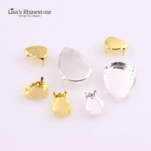 2017 New Fashion Silver/Gold Metal Empty Claw With 4 Holes Teardrop Sew on Rhinestones Claw setting For DIY Fancy stones