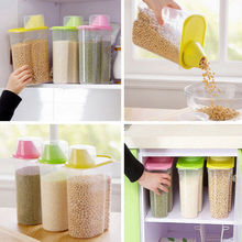 Food Storage Boxes Kitchen Cereal Grain Bean Rice Plastic Storage Container Box Case Green Pink Blue Yellow(China)