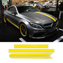 Auto Side Skirt Car Sticker Car Hood Roof Racing Stripe Side Body Garland for Mercedes Benz W205 Coupe C Class C63 AMG
