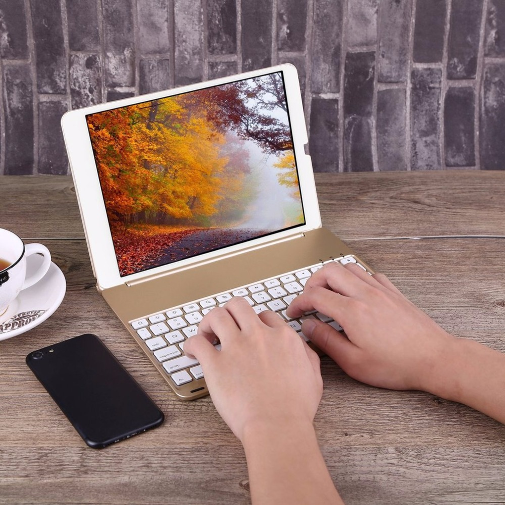 Aluminium Alloy Wireless Bluetooth Keyboard 7 Backlight Colors Rechargeable Keyboard Cover For new iPad 9.7 2017 for  iPad Air 1<br>