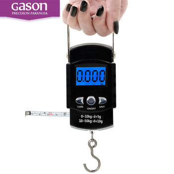 GASON X1 50kg/5g LCD Screen weight digital electronic scales Digital Hanging pocket Scale with Backlight and Hook Built-in rule