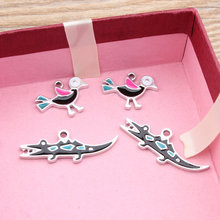 Newest Trendy Alloy drop oil Asian silver Tone Animals Cartoon Birds/Crocodile Shape Metal Charms Diy Jewelry Pendants Accessory