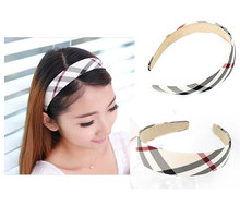 Woman Headband Holder Beige Check Pattern Classical Pattern Fabric hair band bow hoop