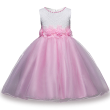 White&Pink 2017 New Summer Flower Kids Party Dresses For Weddings Children's Princess Girl Evening Prom Toddler Girl Clothes(China)