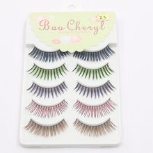 Hot Sale 5 Pairs/set Rainbow Colored Eyelash Extension Color Eyelashes,colorful Eyelash Extension 5 Colors
