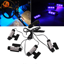 POSSBAY Universal 4 Pcs Car Truck SUV Automobile Vehicle LED Interior Atmosphere Lights Decoration Blue Foot Lamps(China)