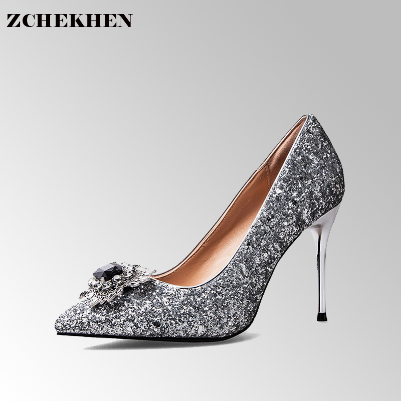 2017 New European Style High-heeled Shoes Pointed Black Diamond Thin Shining Sequins Sexy High Heels Shoes #44<br>