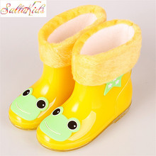 Baby Boots Kid Rain Boots With Cartoon Printing Girls Children Rain Shoes Waterproof Child Rubber Boots Warm Infant shoe KH081(China)