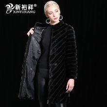DHL Real China Mink fur Coat Women Warm Genuine Leather long Fur Clothes Winter Outwear Natural Black Jacket For Women 2017