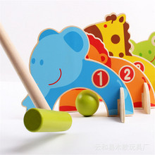 hot sale Wooden cartoon gate ball Golf outdoor sports ball Family game Early puzzle toys