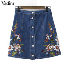 Women stylish flower embroidery denim skirt buttons faldas mujer European style ladies fashion A-line skirts BSQ533(China)