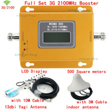 Full Set HOT LCD Display 3G W-CDMA 2100MHz Cell Phone Signal Booster 3G 2100 UMTS Signal Repeater Amplifier Yagi Antenna + Cable