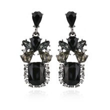 Fashion Hyperbole black Crystal Butterfly pattern OL temperament Stud Earring Women(China)