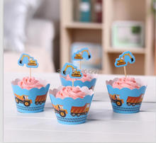 blue truck car Decorations cupcake wrappers & toppers picks baby birthday party supplier ( 60 pcs Wrappers and 60 pcs Toppers )(China)