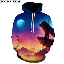 Funny 3D Printed Men Women Hoodies Male Sweatshirts Hooded Pullover Lion Pocket Steetwear Hip Hop Harajuku Jackets ZOOTOP BEAR(China)
