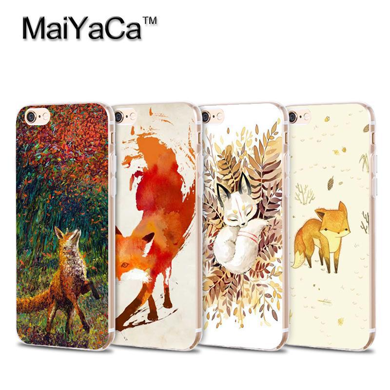 MaiYaCa Cute Fox In Autumn leaves forest Transparent TPU Soft Cell Phone Protective Cover For iPhone 4s 5 5s 6 6s 7 7plus case(China)