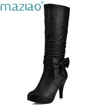 MAZIAO 2016 Plus Size 34-43 Women Boots Spike Heels Round Toe Knee Boots Woman Shoes Female Boots Black White Pink Blue(China)
