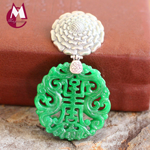 Exquisite Carving Flower Green Jade Women Necklaces 100% 925 Sterling Silver Ethnic Jewelry For Women SP11(China)