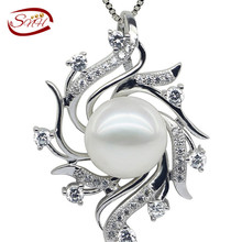 2017 New Drop Pearl Pendant , 925 sterling Silver Chain Necklace, Free Shipping White Freshwater Pearl Pendant(China)