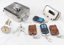 Keyless Entry Smart Remote Door Lock with 4 Remote control and keys (Batteries not included)