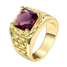 Fashion Cool Men Jewelry 24K Gold Color Ring Austrian Crystal Stone Men Ring Gift for Man bague homme anel masculino