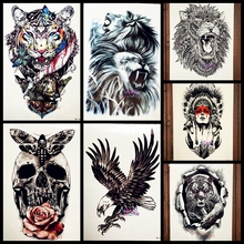 Cool Large Lion Head Tattoo Waterproof Arm Back Decals Temporary Tattoo Sticker For Men Body Art Fake Tattoo Lion Animal AAQH852