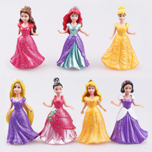 8cm 14pcs/Lot Disney Toys Pvc Princess Cinderella Frozen Elsa Anna Action Figure Set Doll Dress Can Change Classic Toys For Kid