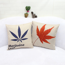2017 1pc Cotton Linen Leaf Color Combinations Lovers Pillow Case Cushion Cover for Living Room Home Sofa Decoration MF240(China)