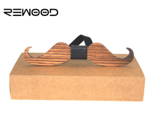 Rewood Original Design American New Fun Personality Men Leisure Wedding Party Beard Shape Wooden Bow Ties Bowtie Butterflies(China)