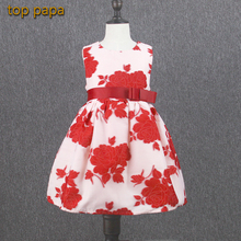 Top Papa New Arrive 2017 Chinese Embroidery Big Rose Flower Design Princess Children Girl Layered Dress with Lace Belt(China)