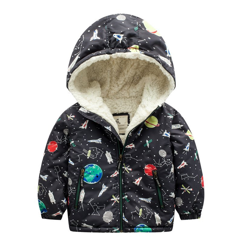 Winter Jackets &amp; Coats for Boys Space Design Baby Boys Hooded With Thicken Fleece Kids Outerwear cotton warm hoodies High Quali Îäåæäà è àêñåññóàðû<br><br>