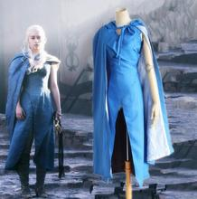 Game of Thrones Daenerys Targaryen Cosplay Costumes A Song Of Ice And Fire Dany Blue Dress Cloak Halloween Costumes