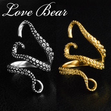 LOVE BEAR Brand Rings Fashion Jewelry For Women Titanium Steel Deep Sea Octopus Rings Mens Punk Rings Black/Gold Mood Rings(China)