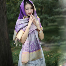 Women Ethnic Fall And Winter Scarf Wild Young Artists Decorated Cotton Gold Silk  Conditioning Shawl Wholesale Dual Use A37