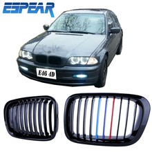 1set Durable Front Grille Kidney Grill For BMW E46 3 Series 4D 98-01 Gloss Black M-Color with Retail Package #940