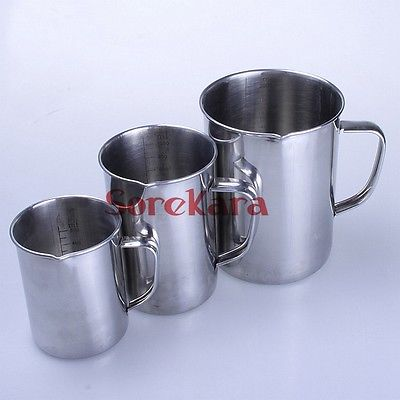 Stainless Steel 1000ml Milk Cup Graduated Liquid Measuring Cups<br>