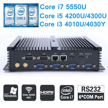 i7 4500U Upgrade Core i7 5550U Mini PC Windows i5 i3 Fanless Industrial PC 6*RS232 COM Dual LAN Mini Server Computer(China)