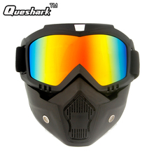 Queshark Modular Mask Detachable Goggles And Mouth Filter Ski Goggle Men Women Windproof Snow Snowboard Skiing Cycling Eyewear