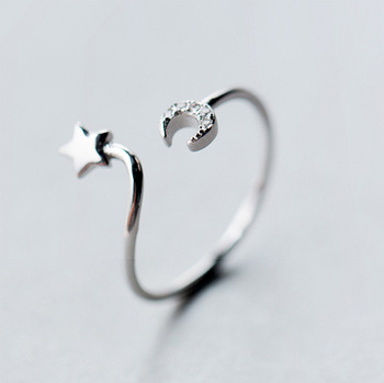 1Pcs Trendy 925 Silver Star Moon Finger Around Ring for Women Open Half Moon Star Symbol Adjustable Party Band Jewelry