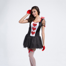 VASHEJIANG Adult Poker Queen of Hearts Costume Kigurumi Halloween Costumes for Women Red Queen Cosplay Costume Fancy Party Dress(China)
