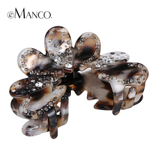 Flowers petal rhinestone hair claw clamp acetate claws clips women flowers series big acrylic hair jewelry ornament eManco(China)