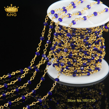 5meter/lot Blue Crystal Glass Beads Chain 14k Plated Gold Chain Fashion Chains for Statement Necklace Women Jewelry JD073