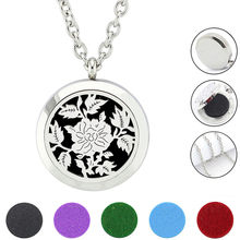 Free with Chain and Felt Pads! 316L Stainless Steel Silver Magnetic 30mm Essential Oil Diffuser Perfume Locket Necklace(China)
