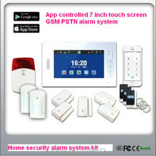 APP controlled X6 FSK868MHZ smart home security GSM PSTN alarm system with 7 inch touch screen,detailed menu in multi-language