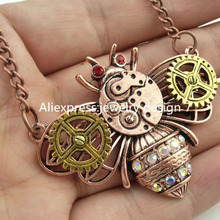 GLOWCAT Q45A39 Punk Style Alloy Insect Bee Beetle Steampunk Steam Dangle Pendant Bumble Bee Necklace