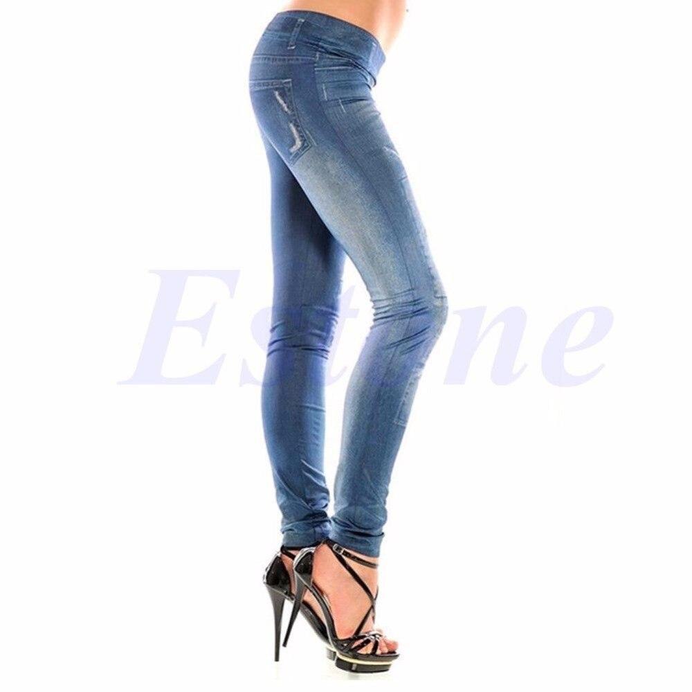 Sexy Women Denim Look Jeans Ripped Skinny Jeggings Stretchy Slim Leggings Pants-J117