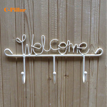 New 1PC Rural White Welcome Wrought Iron Key Hook Rack Metal Coat Clothing Hooks Home Organizer Racks Storage Holders for Wall