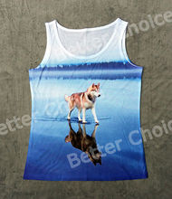 Track Ship+Vintage Vest Tanks Tank Tops Camis Grey Husky Dog Walking on Beautiful Blue Salt Lake with Reflection 0589